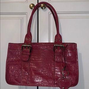 Valerie Stevens pink faux croc handle purse